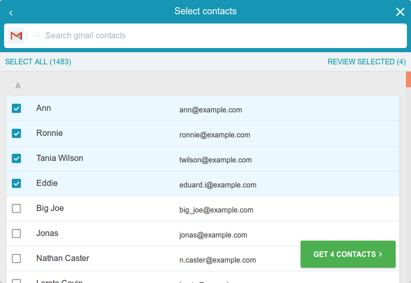 list of contacts with some highlighted and a button to import them