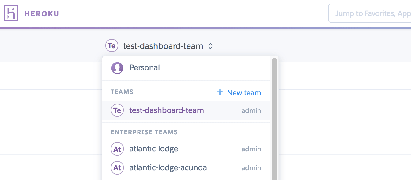 Heroku Dashboard Context Switcher