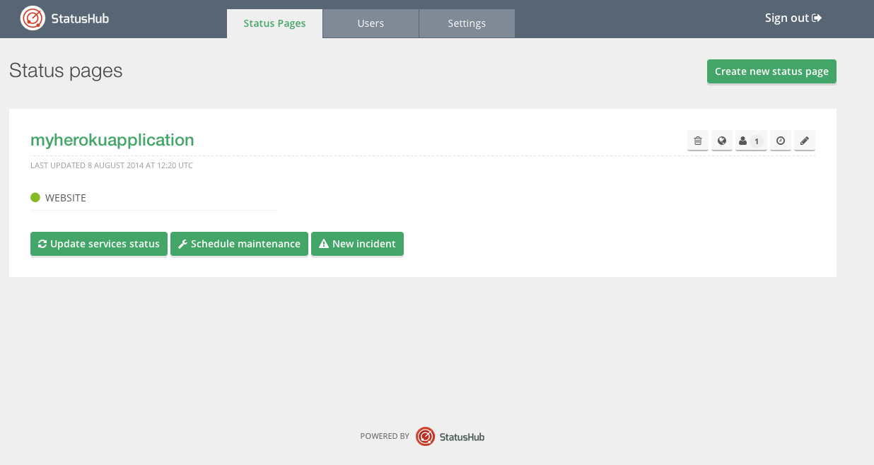 StatusHub Dashboard